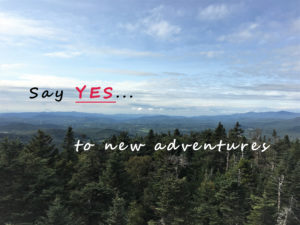 """An overhead view of a pine forest with mountains and sky in the background and the words """"Say Yes... to new adventures""""."""