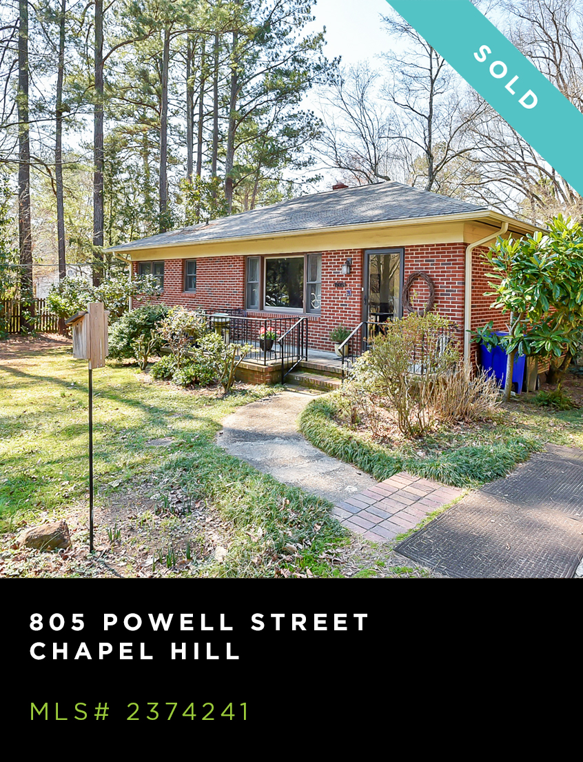 805 Powell Street home for sale, front facade of tidy brick ranch