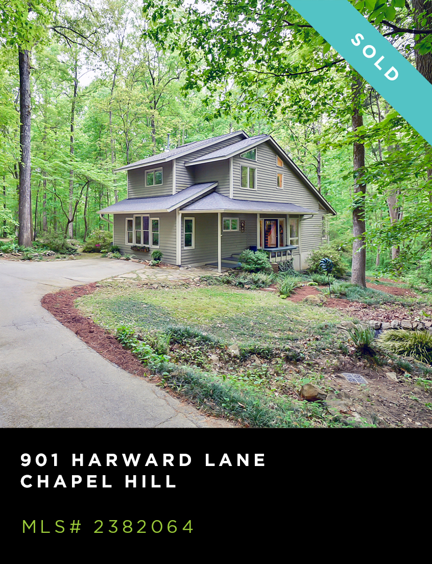 901 Harward Lane home for sale, front facade of gray, two story contemporary with wooded lot