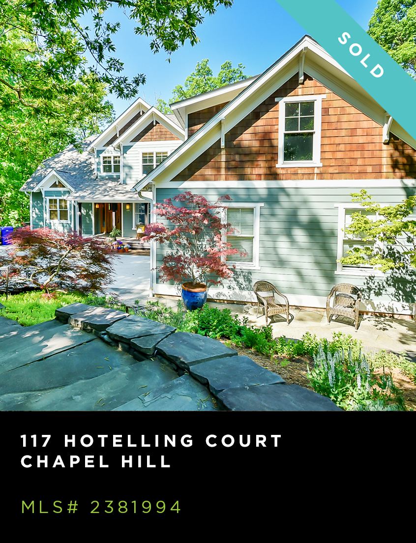 117 Hotelling Court home for sale, front facade of green & natural shingled craftsman with specimen plantings