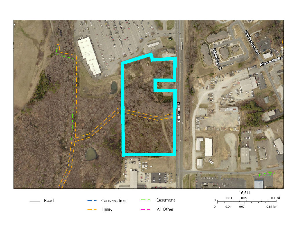 Aerial map with Durham Road, Roxboro commercial property listing indicated in blue.
