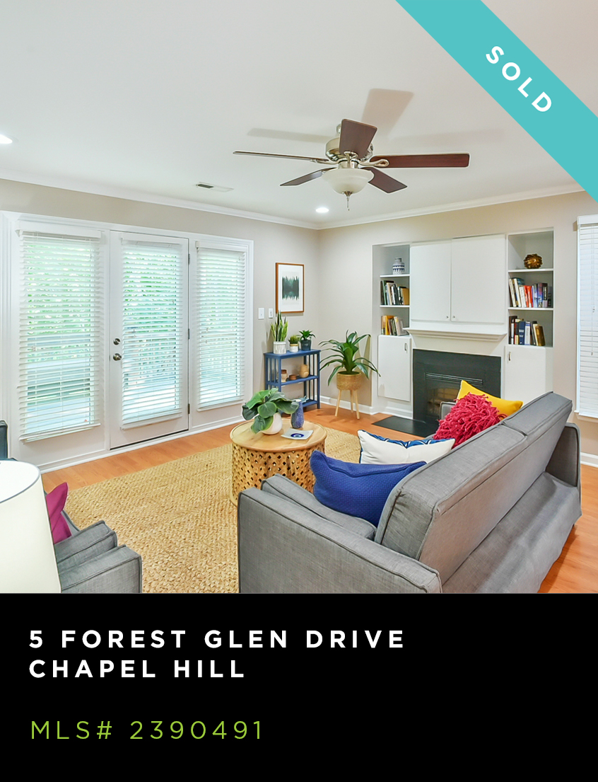 5 Forest Glen Drive home for sale, living room with grey couches, colorful pillowsw, fireplace, and large windows