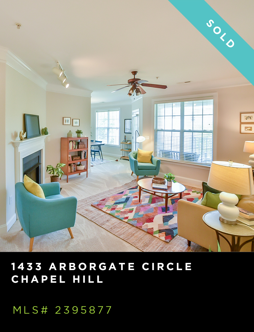 1433 Arborgate Circle condo for sale, brightly decorated living room with fireplace and lots of windows
