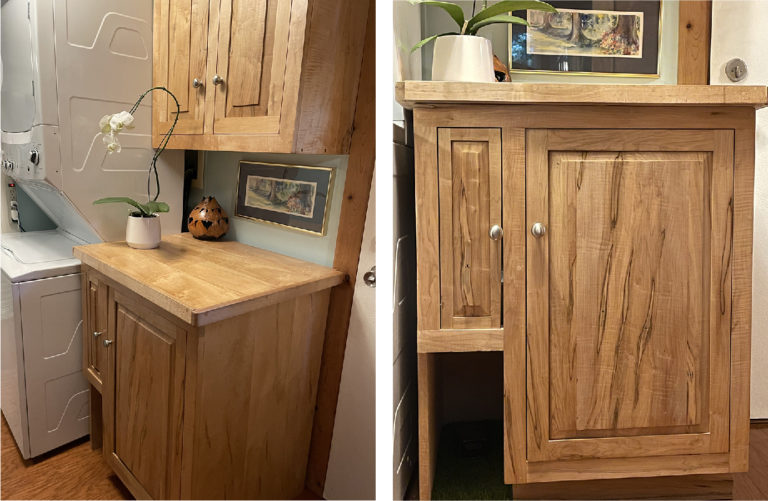 A medium tone wooden base and wall cabinet next to a stacked washer/dryer and a close up of a medium toned wood custom base cabinet.