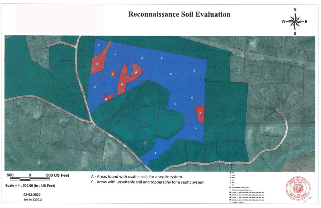 Soil evaluation map of a property