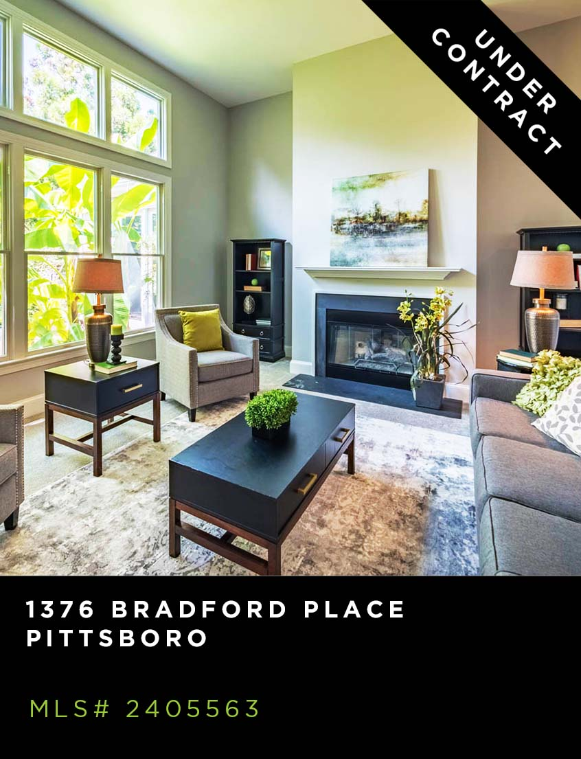 1376 Bradford Place, Pittsboro Home for Sale, living room with contemporary furnishings, fireplace, large window and modern art.