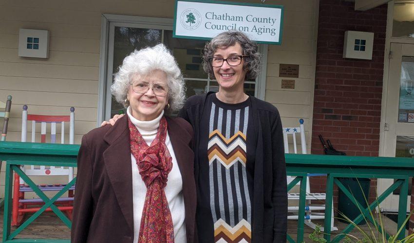 Mel visiting with COA volunteer MaryLou Mackintosh.