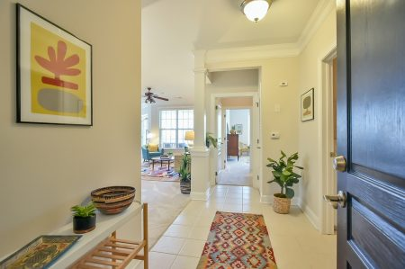 Foyer with tyle floor, colorful runner rug, entry table with art and plants.